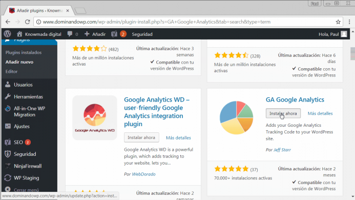 Cómo instalar el plugin para WordPress GA Google Analytics.